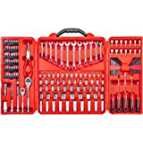 Mechanics Tool Set – 190 Piece Professional Hand Tool Box Kit - 1/4 – 3/8 Inch Drive Socket Set, Inch/Metric, 6 – 12 Point, Screwdrivers, Hex key, Wrenches, Pliers, Ratchets, Bits, Industrial & Home
