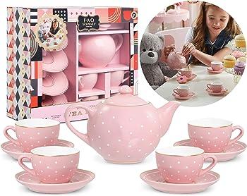 9-Pieces FAO Schwarz Ceramic Tea Party Set for Kids