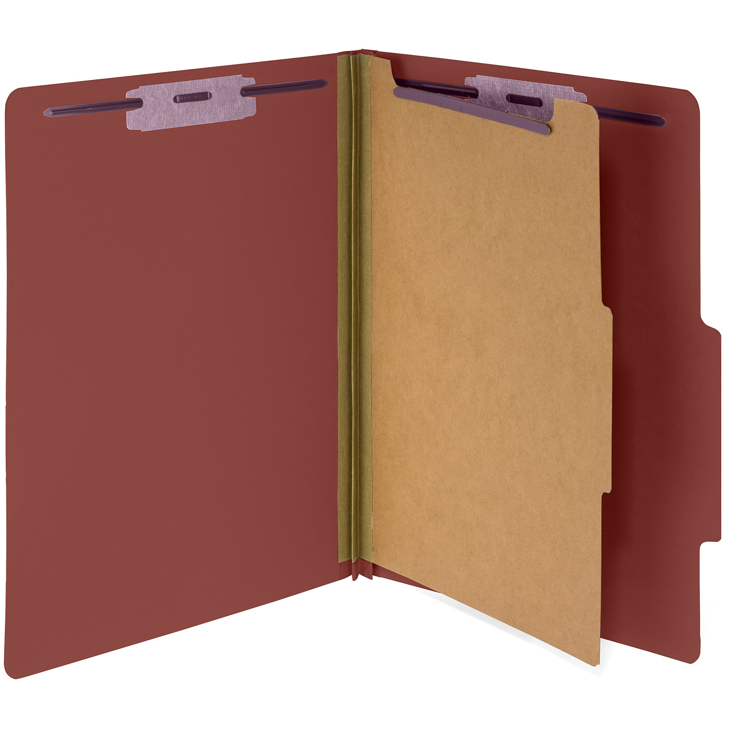 10 Letter Size Red Classification Folders, 1 Divider, 2 in Tyvek Expansions, Durable 2 prongs designed to organize Standard Medical Files, Office reports, Letter Size, Red, 10 PACK