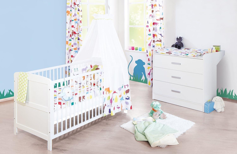 Pinolino Sparset Viktoria breit, 2-teilig, Kinderbett (140 x 70 cm) und  breite Wickelkommode mit Wickelansatz, weiß (Art.-Nr. 09 00 22 B)