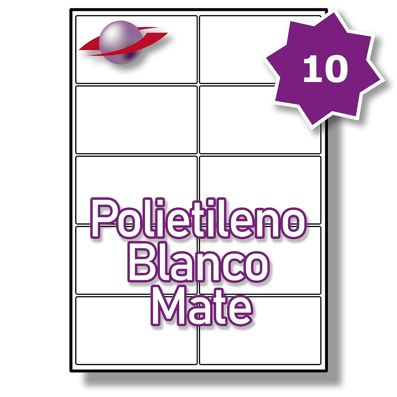 10 Par Hoja, Label 50 Hojas, 500 Etiquetas. Label Hoja, Planet® Etiquetas de Polietileno Blanco Mate para Impresión Láser 99.1 x 57mm, LP10/99 MWPE. 870523