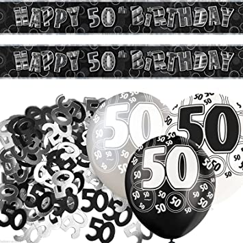 Black Silver Glitz 50th Happy Birthday Banner Party Decoration Set Pack Of 1 Amazoncouk Toys Games