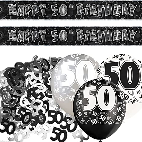 Black Silver Glitz 50th Birthday Banner Party Decoration Pack Kit Set By Happy