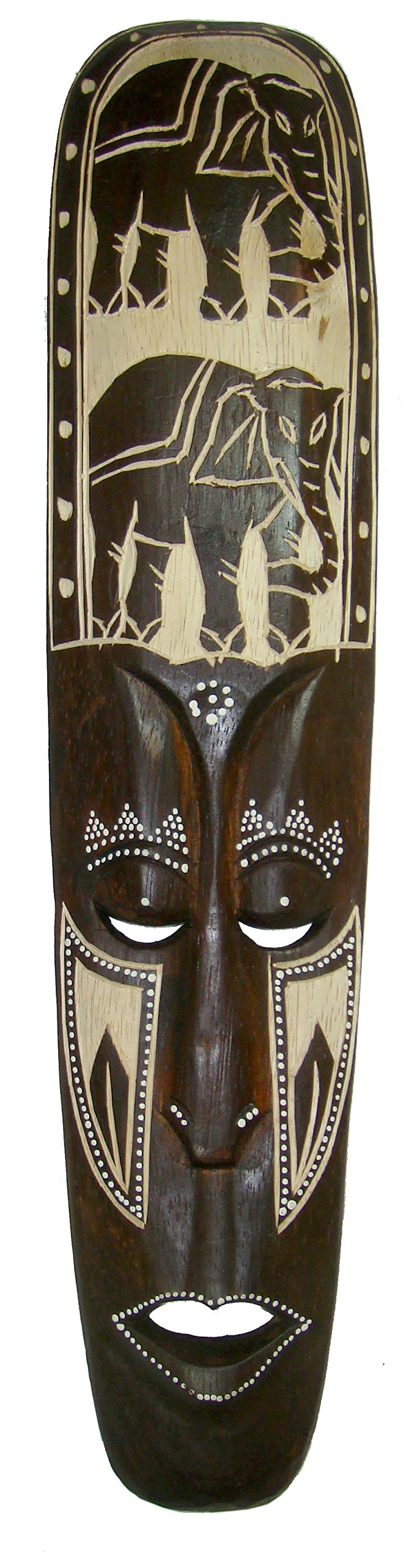 NareeGreen African Mask Wall Hanging Decor Lucky elephant and Protection Mask, LARGE 20''