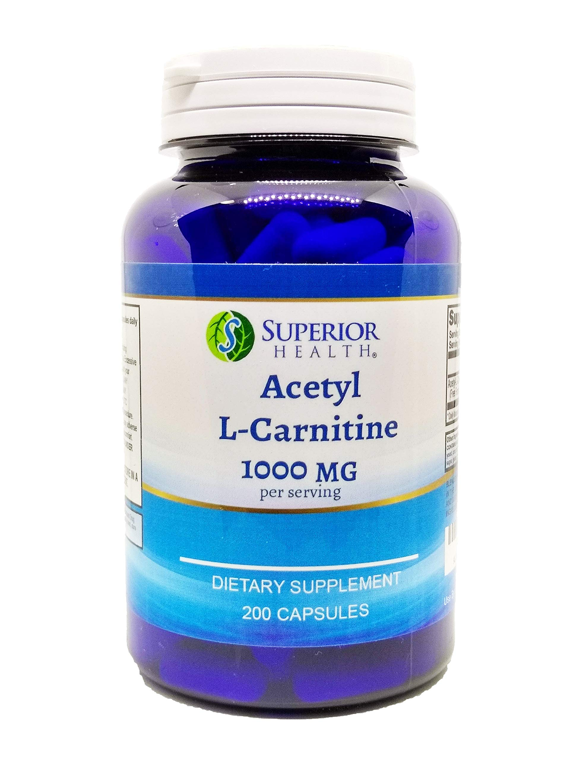 Acetyl L-Carnitine 1000mg 200 Capsules (ALCAR) by S SUPERIOR HEALTH (Image #1)