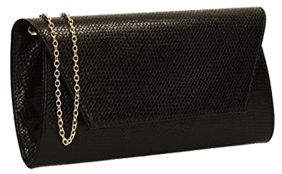 a816a0a245 Merci Micro Snakeskin Faux Leather Womens Party Prom Wedding Ladies Clutch  Bag - Black
