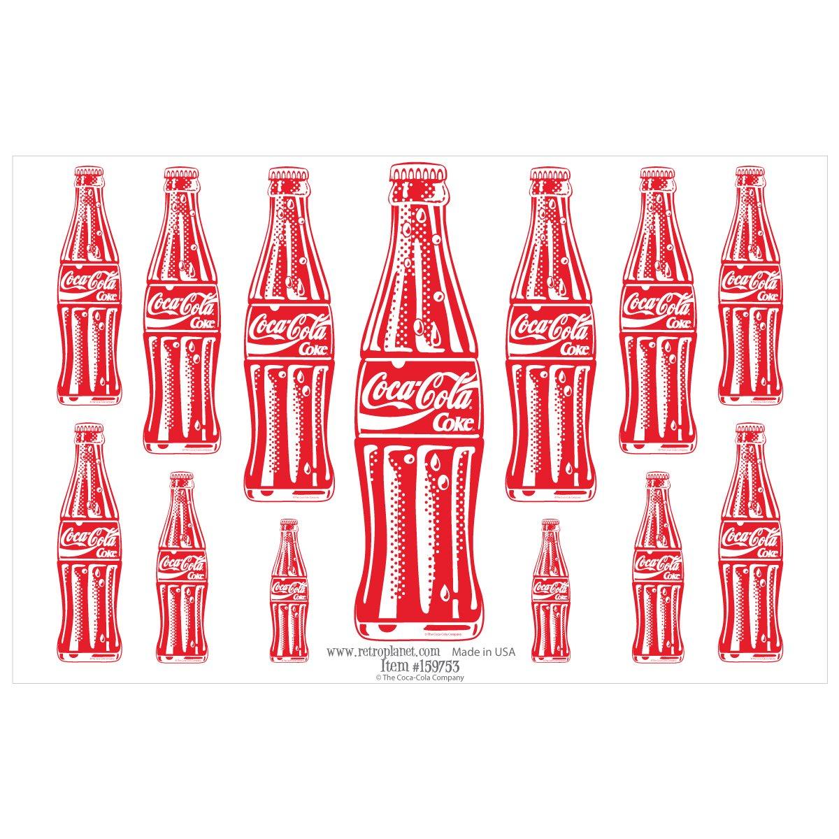 Coca-Cola 13 Bottles Red Vinyl Sticker Sheet Pop Art 13 Decals