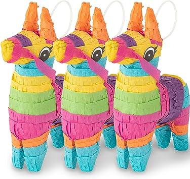 Amazon.com: Meklines Mini Donkey Pinata – Juego de 3 piñatas ...