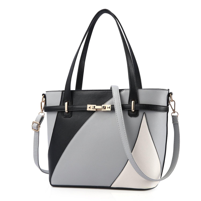 Top Handle Bags for Women Leather Tote Purses Handbags Satchel Crossbody Shoulder Bag form Nevenka (Gray)