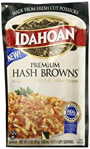 Idahoan Premium Hash Browns with Real Idaho Potatoes (3 Pack) 3 oz Bags