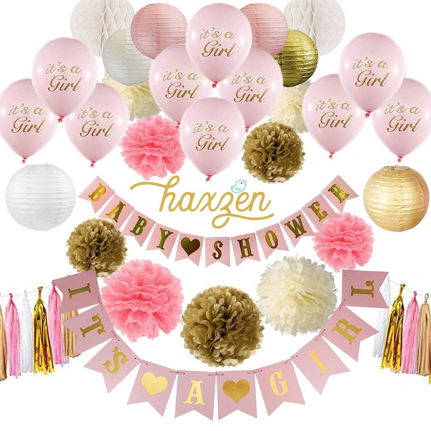 Baby Shower Decorations Pink Gold and White for Baby Girl - It's a Girl & Baby Shower Banner with 10 Balloons Pom Poms Paper Lanterns Honeycomb Balls Tassel  Set Party Decorations by Haxzen