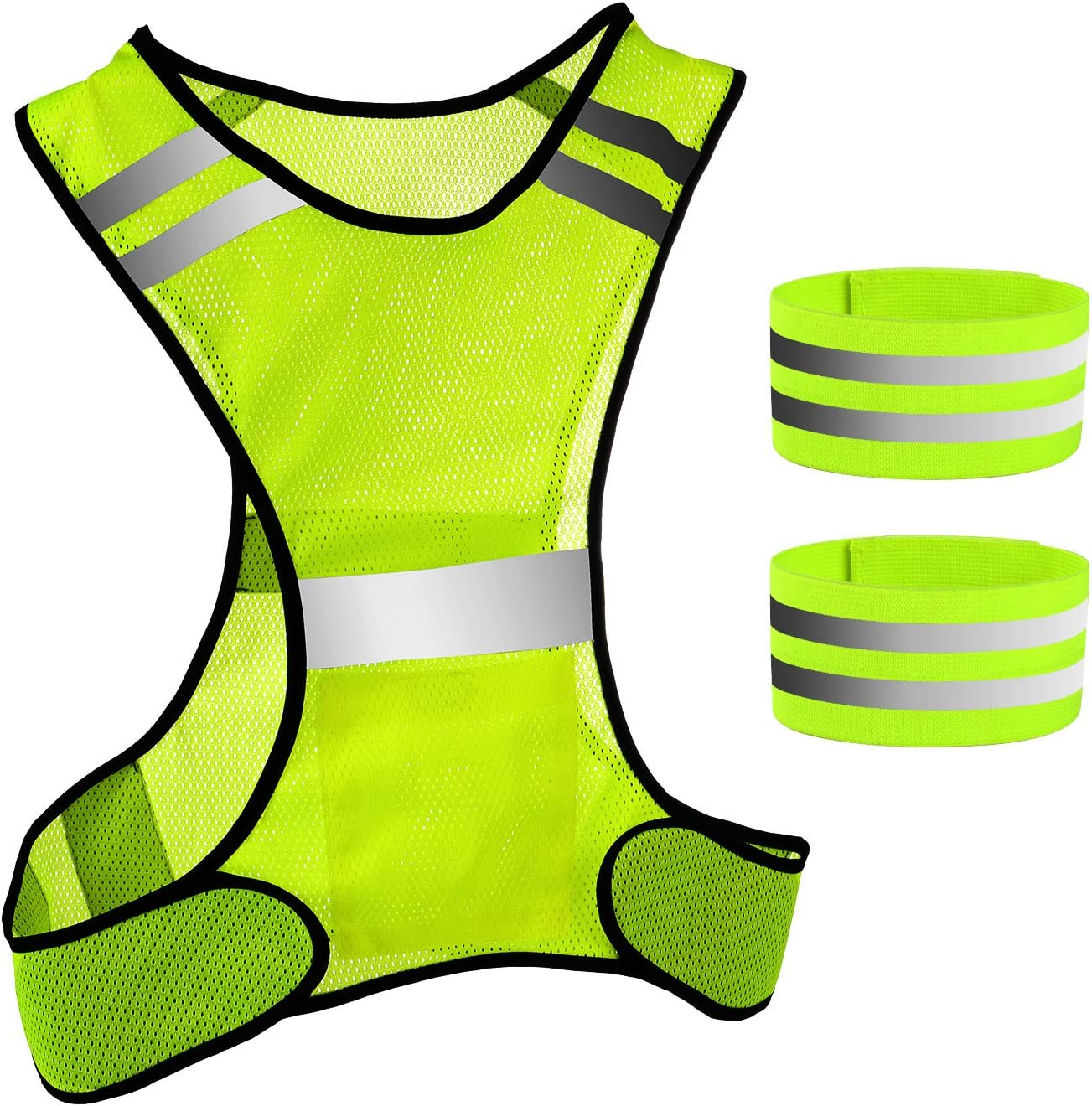 Pangda High Visibility Safety Vest with Reflective Strap and Reflective Armbands Wristbands for Night Walk Running Dog Walking Motorcycling