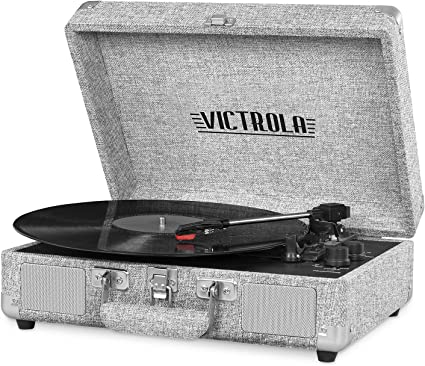 Victrola VSC-550BT-LGY Bluetooth Suitcase Record Player with 3-Speed Turntable, Light Grey