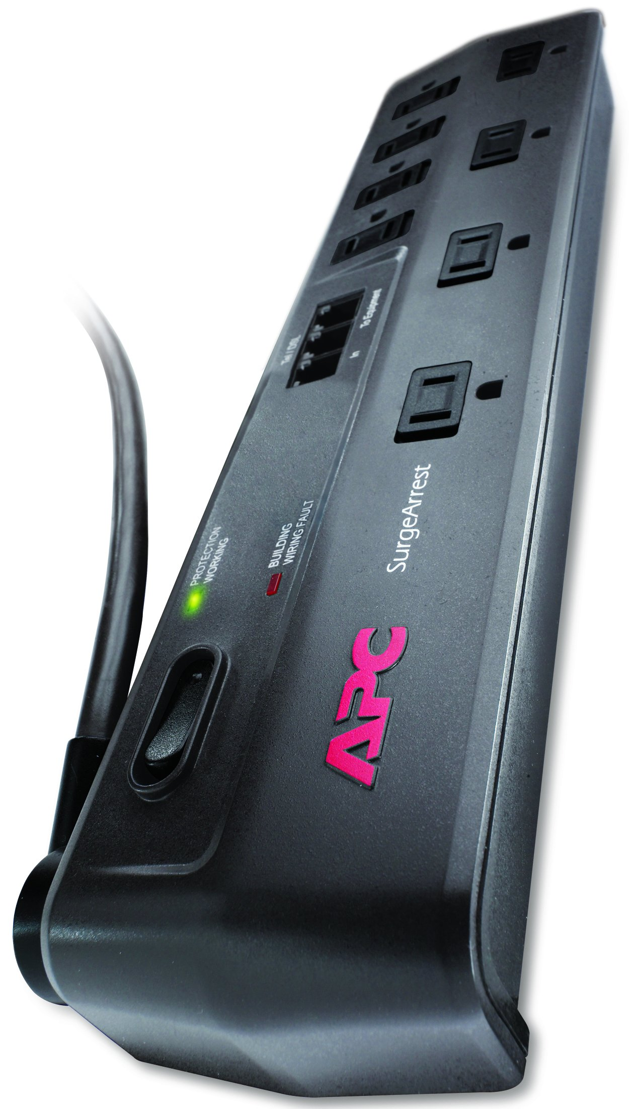 Apc Outlet Surge Protector With Telephone  Dsl And Coaxial Protection