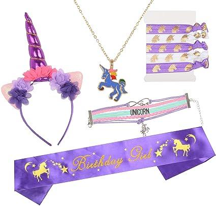 bd6be57fc4c70 MEANT2TOBE Unicorn Headband and Pink Satin Sash | Unicorn Birthday Party  Supplies Favors | Unicorn Birthday Girl Set | Unicorn Headband and Punk  Satin ...