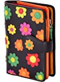 Visconti Spanish DS-82 Womens Leather Floral Multi Colored Bifold Wallet DAISY COLLECTION