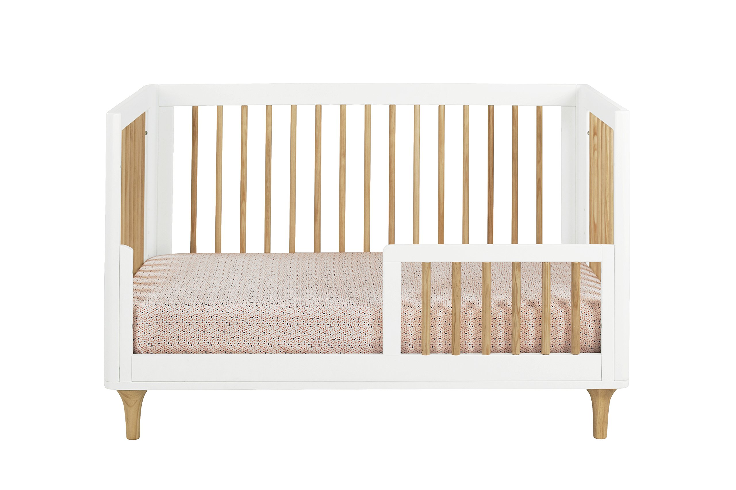 Babyletto Lolly 3-in-1 Convertible Crib with Toddler Bed Conversion Kit, White / Natural