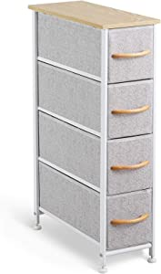 McNeil 4 Drawers Fabric Dresser Narrow Vertical Storage Tower Organizer Unit for Bedroom Office Laundry Closet Entryway Hallway Nursery Room, Gray