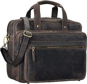 Stilord Walt Vintage Aktentasche Leder Herren Damen Lehrertasche Xl Groß Büro Business Umhängetasche Für 15 6 Zoll Laptop Echt Leder Farbe Dunkel Braun Koffer Rucksäcke Taschen