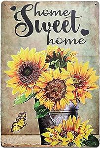 TISOSO Home Sweet Home Fresh Sunflower Vintage Metal Sign Garden Decoration Farmhouse Decorative Wall Art Decor Home Coffee Bar Signs 8X12Inch