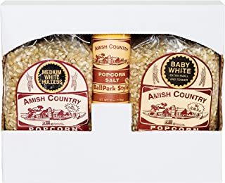 product image for Amish Country Popcorn | 2 Pound Variety Pack | 2 lbs Baby White Popcorn Kernels - 2 lbs Medium White Popcorn Kernels & ButterSalt | Old Fashioned with Recipe Guide