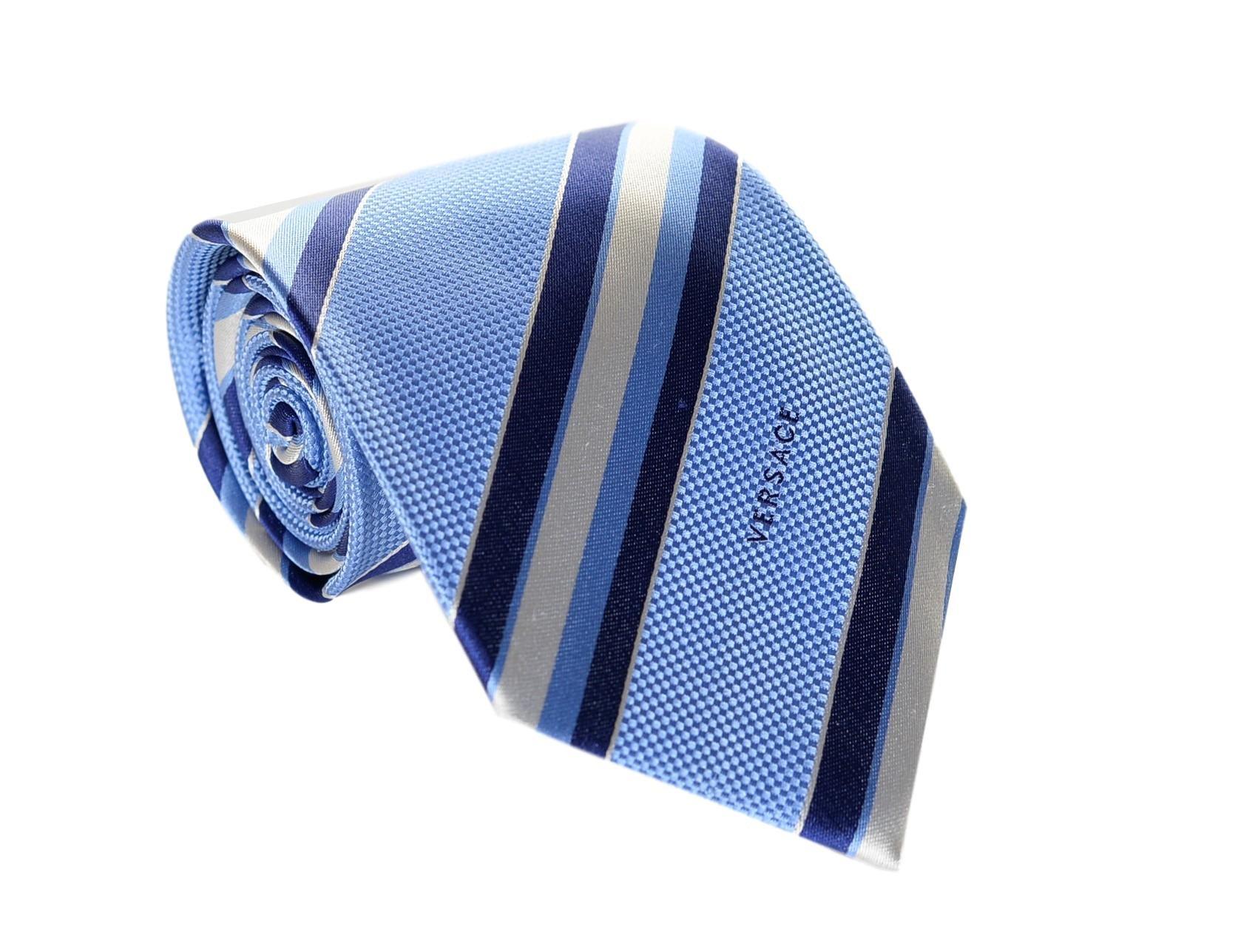 Versace Men's Multi Striped Woven Silk Necktie Lt. Blue-Navy