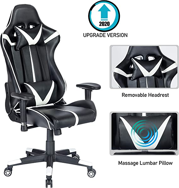 Blue Whale Gaming Chair PC Computer Chair Ergonomic Video Game Chair High Back Racing Gamer Chair Reclining Leather Office Chair with Headrest and Lumbar Support (8192White1)
