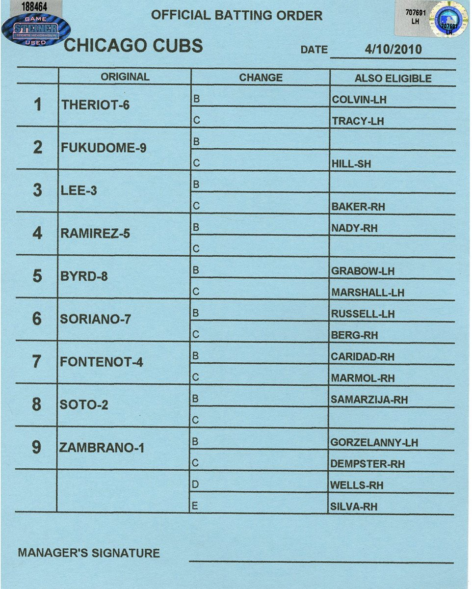 Chicago Cubs at Cincinnati Reds 4 10 2010 Blue Game Used Line up Card (LH707691)