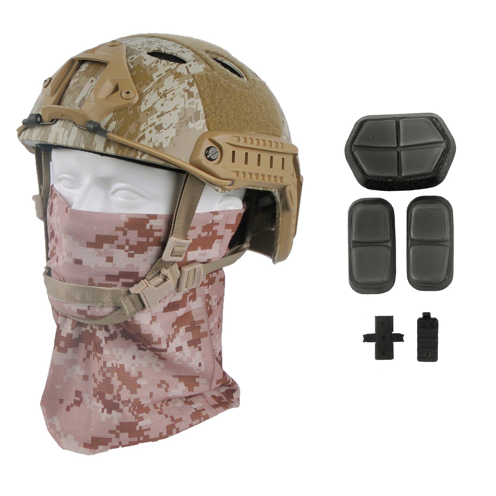 LOOGU Fast PJ Base Jump Military Helmet with 12-in-1 Headwear(AOR1) by LOOGU