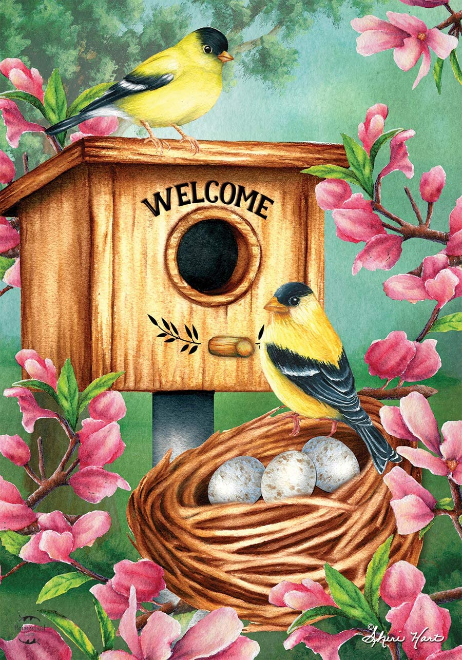 "Briarwood Lane A Watchful Eye Spring Garden Flag Goldfinches Nest 12.5"" x 18"""