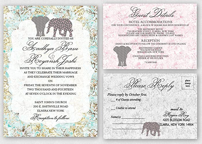 Amazoncom Elephant Theme Wedding Invitations Suite Set of 30 Handmade