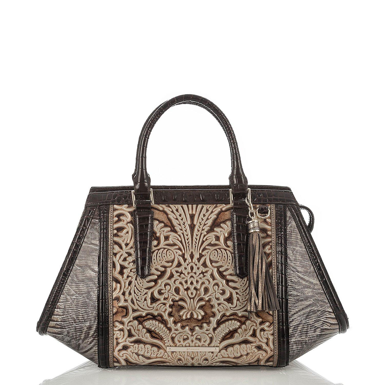 Brahmin Arden Satchel Gold Bell Canto Embossed Leather Bag