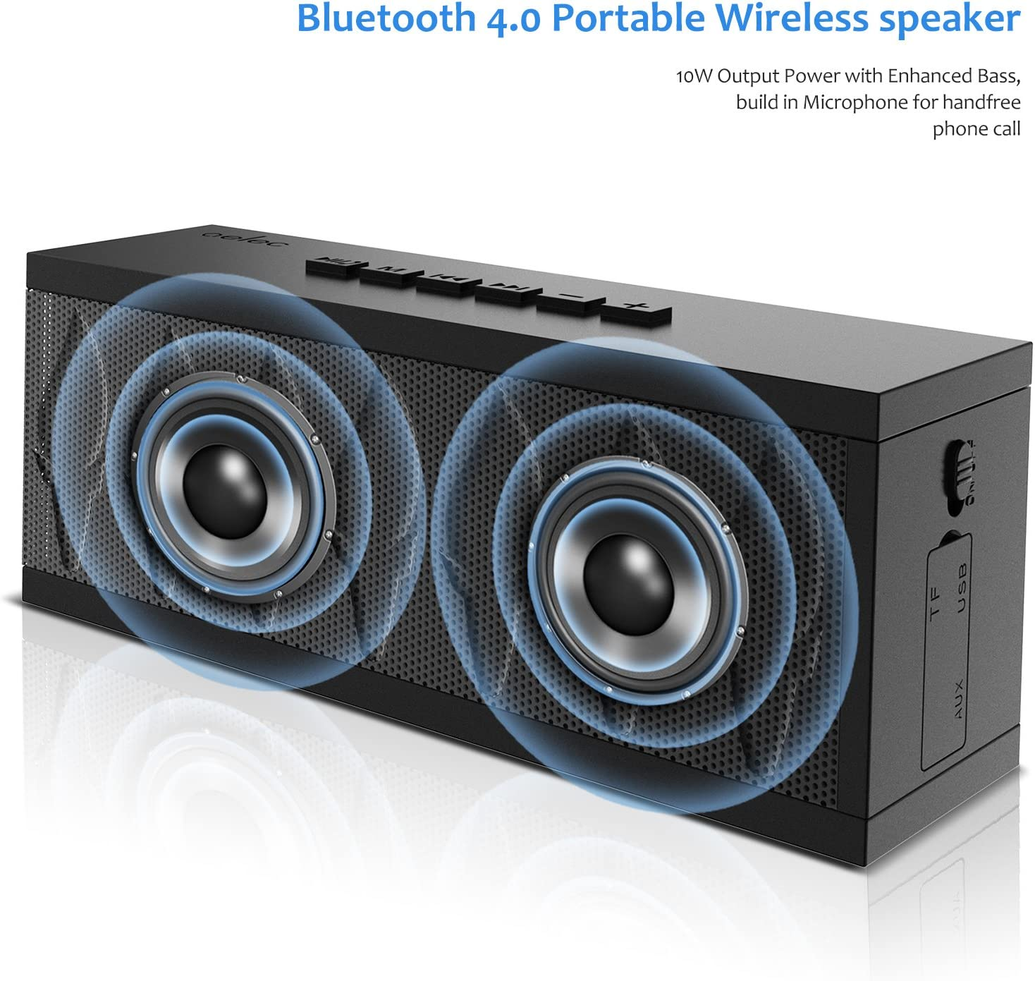 Portable Wireless Bluetooth Speakers 6H Playtime Black 20W Bass Sound Perfect Indoor//Outdoor Wireless Speaker AUX//Micro SD Input for Home Party,Travel and Android Phone//iPhone//iPad//Echo dot