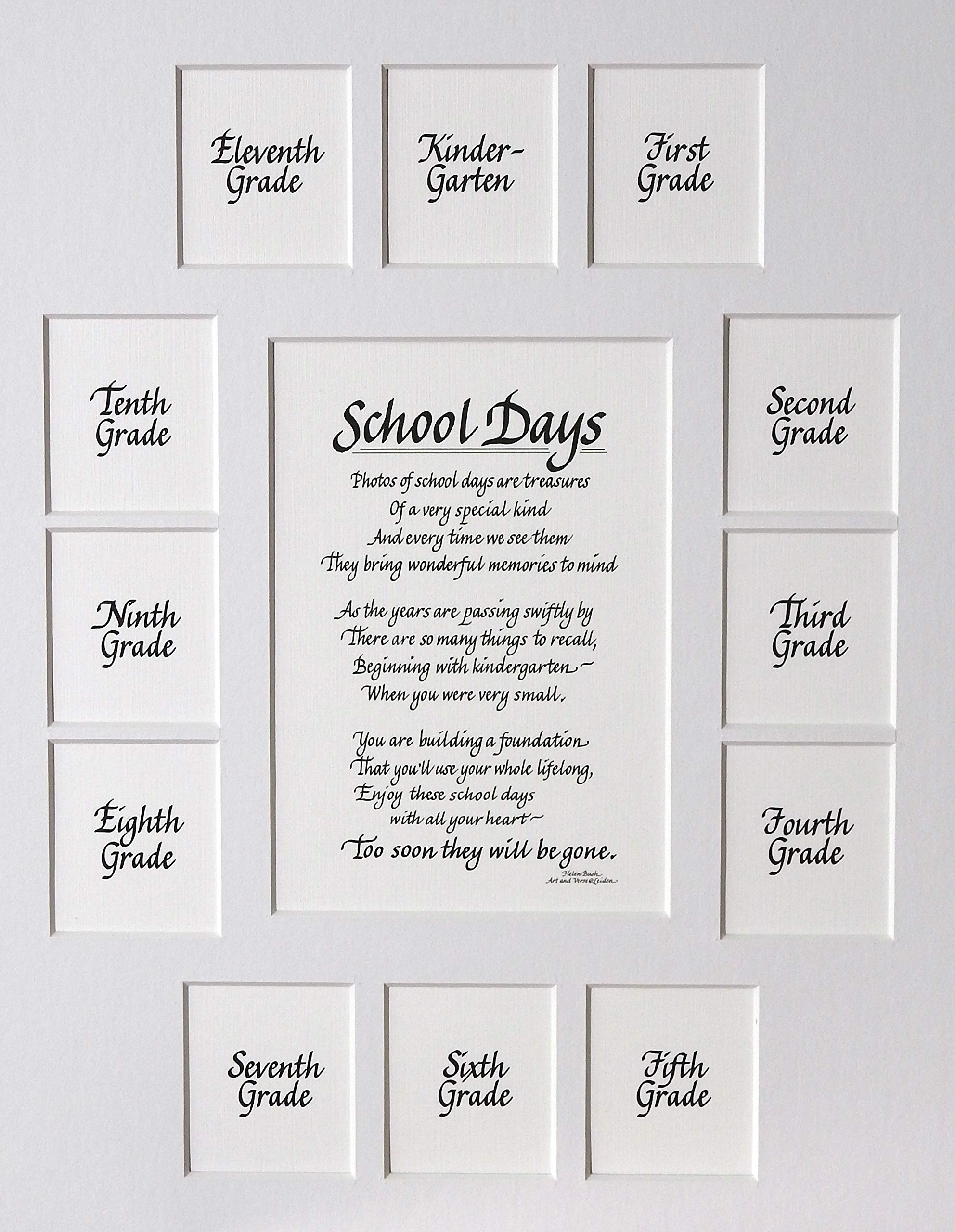 """All Things For Mom School Picture Mat with Classic verse """"School Days"""" on a White Mat (11"""" x 14"""")"""