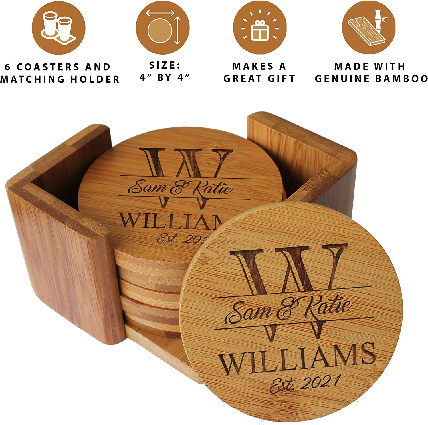 Custom Engraved Bamboo Wood Coasters Personalized Coaster Set For Drinks Weddings Couples With Holder Round Bamboo Kitchen Dining