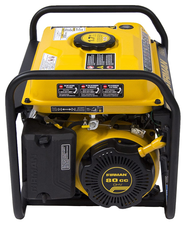 Firman P01001 1300//1050 Watt Recoil Start Gas Portable Generator CARB and cETL Cert Black