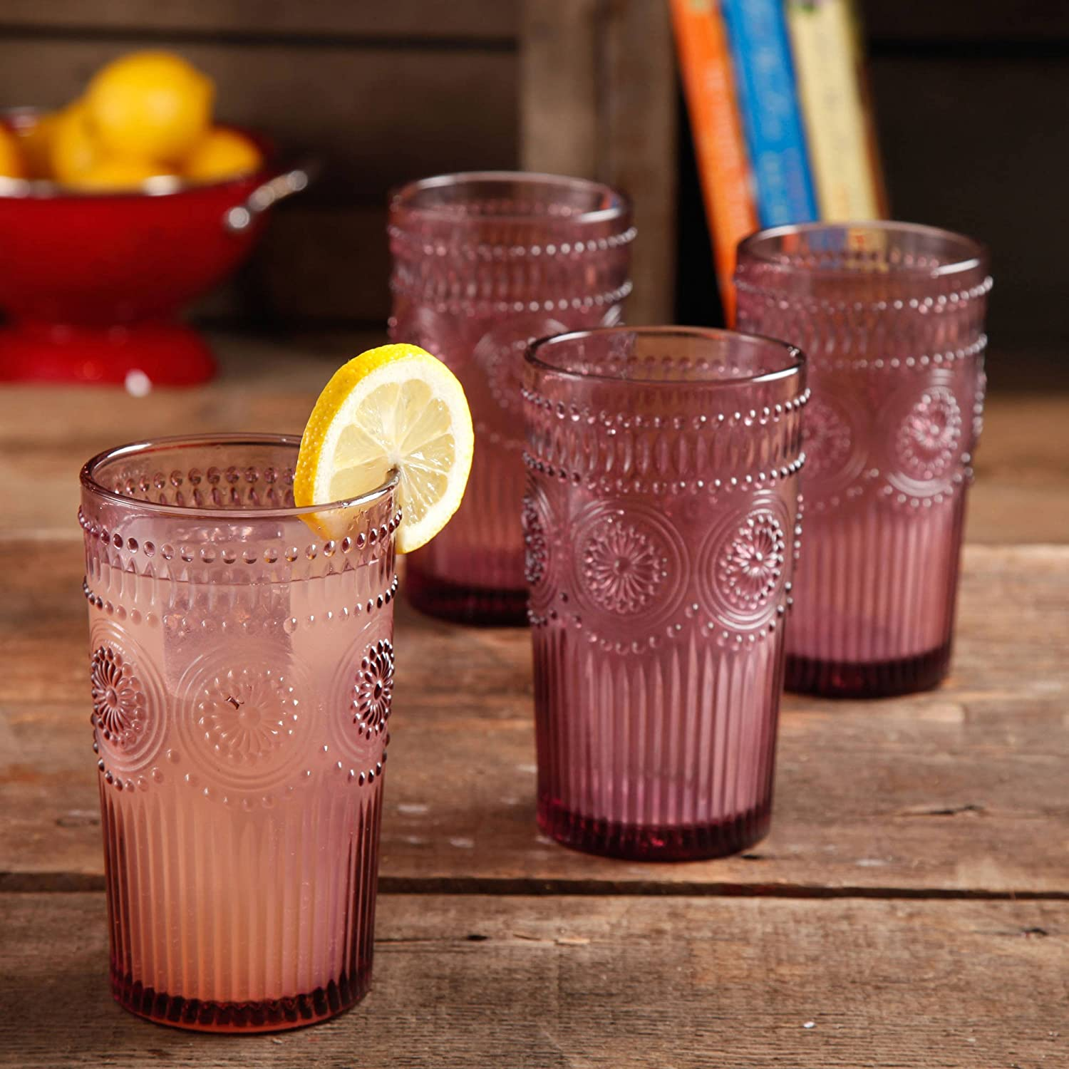 The Pioneer Woman Adeline 16-Ounce Emboss Glass Tumblers Set of 4 (Plum) Made in USA