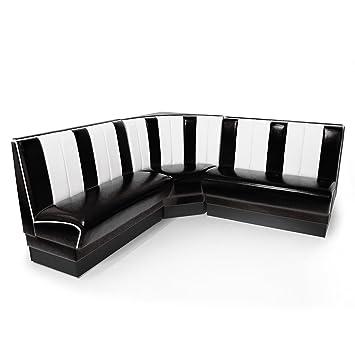 American Diner Eckbank schwarz Set Viber 2x Sitzbank 120cm + Eckbank ...