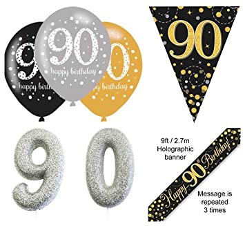 EPF 90th Birthday Party Decorations Kit Age 90 Black And Gold Banner 6pcs