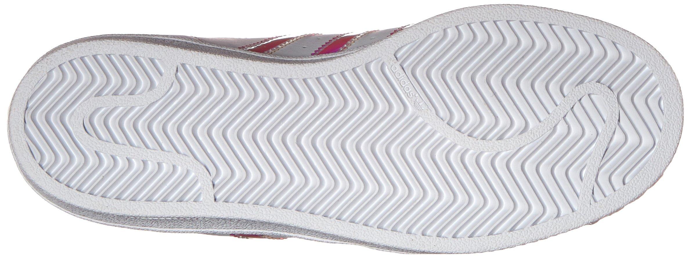 adidas Originals Kid's Superstar J Shoe, White/White/Metallic Silver, 4 M US Big Kid by adidas Originals (Image #3)
