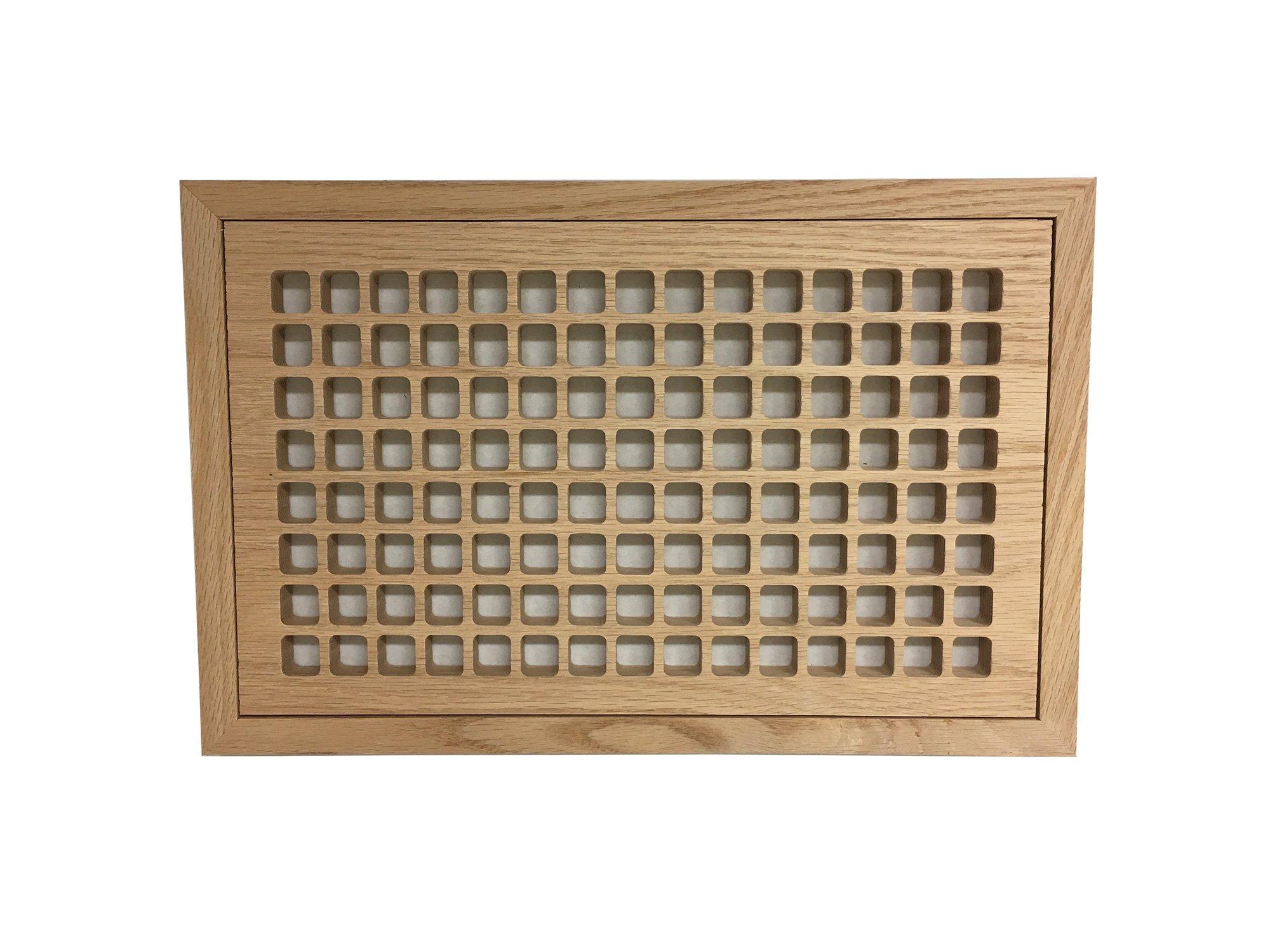 8 Inch x 14 Inch Red Oak Hardwood Vent Floor Register Flush Mount with Frame, Eggcrate Style, Unfinished