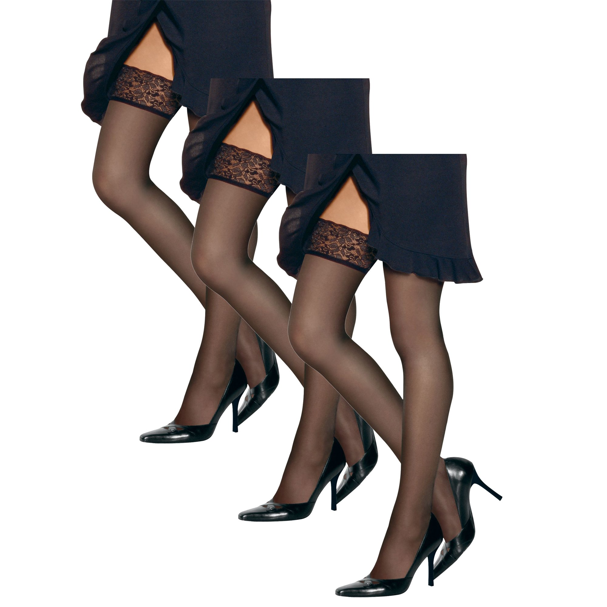 Hanes Women`s Set of 3 Silk Reflections Lace Top Thigh Highs AB, Barely Black