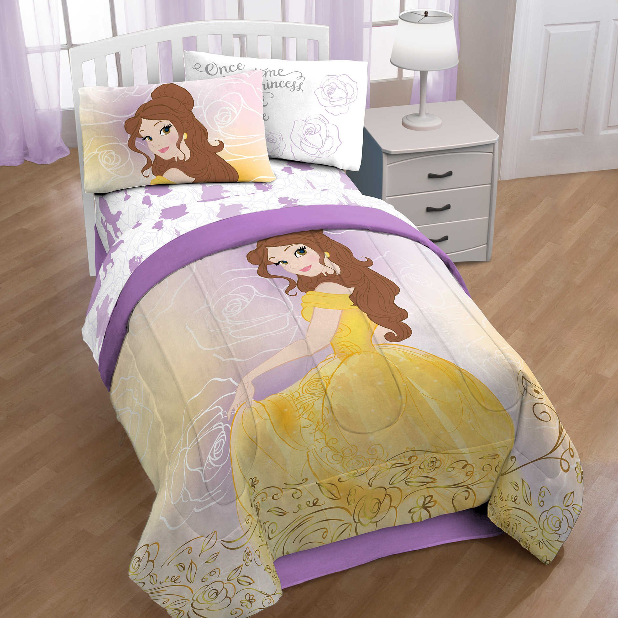 Disney Beauty And The Beast Belle En Rose Bedding Set Comforter and Sheet Set (Full Size)