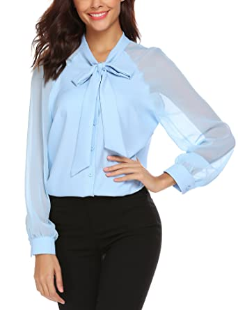 94dc6b75f05707 School Blouses Women Top Long Sleeve Summer Bow Tie Neck Work Casual New  Look Shirt Light Blue: Amazon.co.uk: Clothing