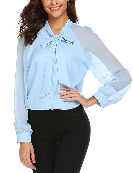 zhenwei Mujer Camisas Verano Fiesta Manga Larga Casual Blusas con Pajarita Azul Claro
