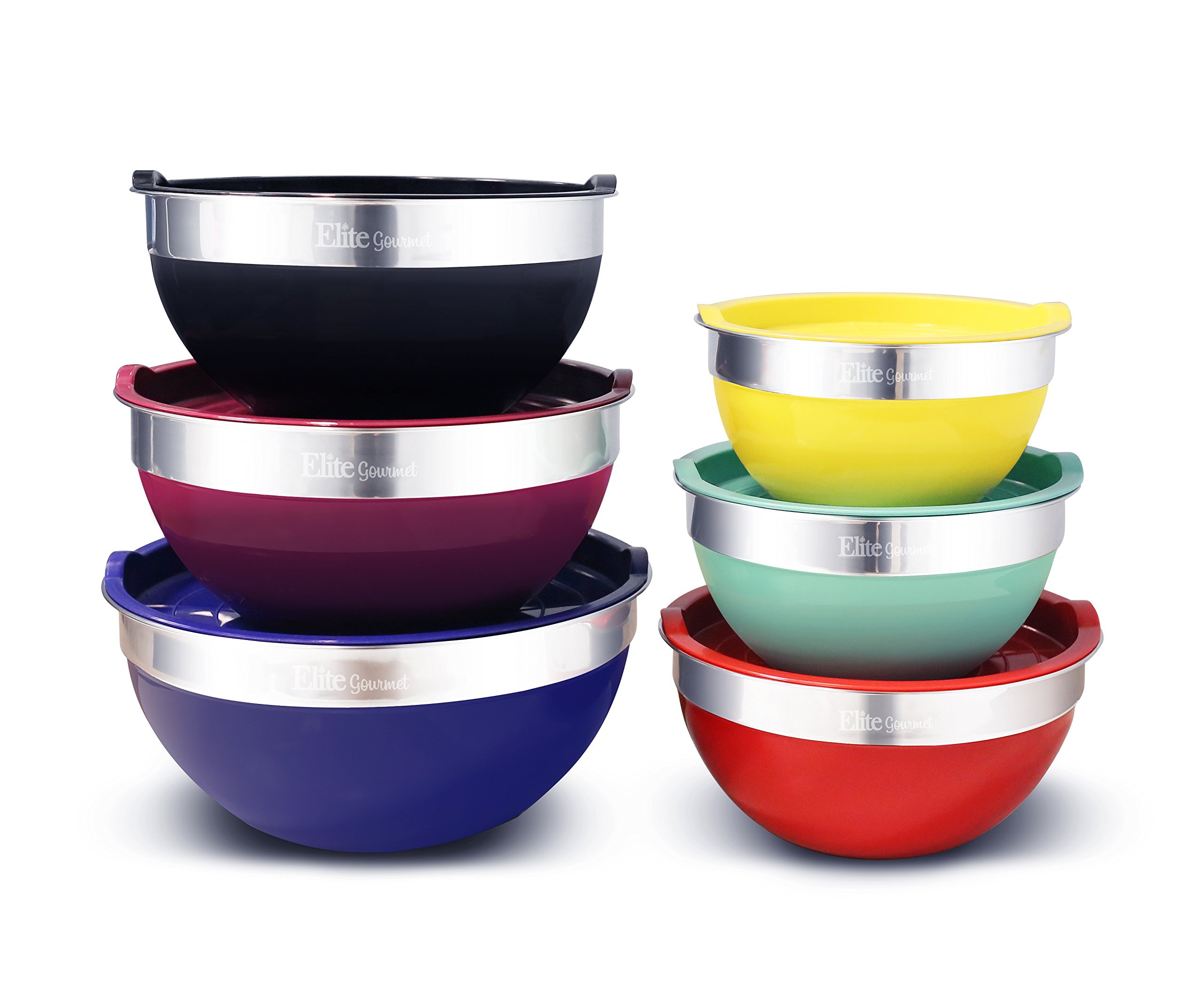 Elite Gourmet EBS-0012 Maxi-Matic 12-Piece Stainless Steel Colored Mixing Bowls with Lids, 7.25 Qt. - 6 Qt. - 3.5 Qt. - 3 Qt. - 2.25 Qt. - 2 Qt.