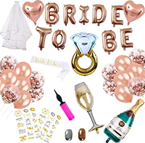 38Pcs Bachelorette Party Decorations Kit, Bridal Shower Party Supplies & Engagement Party Decor, Bride to Be Banner & Sash, Veil, Ring & Champagne Foil Balloons, Rose Gold Balloons &Tattoos