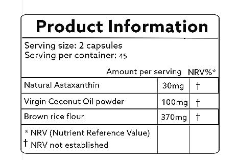 Astaxantina natural 30mg con aceite de coco - vegano 90 cápsulas - fuerza mayor - las naturalezas más potente antioxidante! -Ambiente vegana/ vegetariana ...
