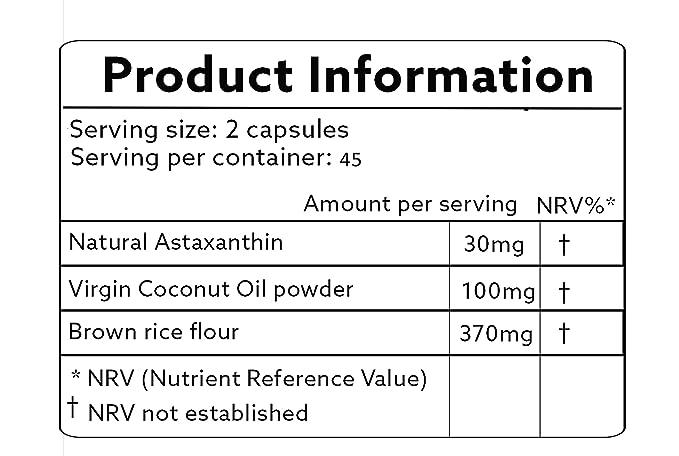 Astaxantina natural 30mg con aceite de coco - vegano 90 cápsulas - fuerza mayor - las naturalezas más potente antioxidante! -Ambiente vegana/vegetariana ...