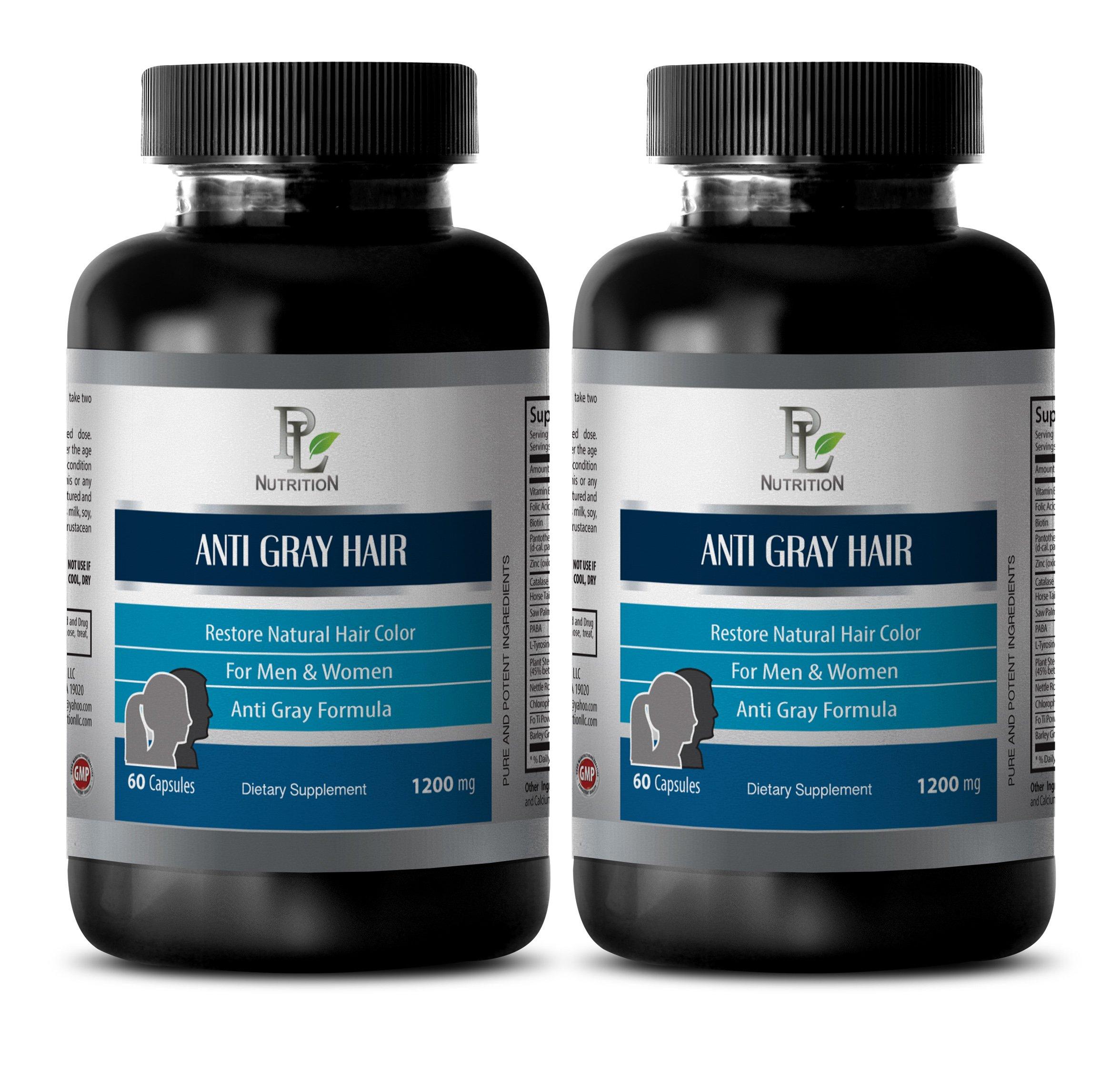 Gray hair vitamins - ANTI GRAY HAIR NATURAL COMPLEX 1200mg - Biotin for hair loss for men - 2 Bottles 120 Capsules